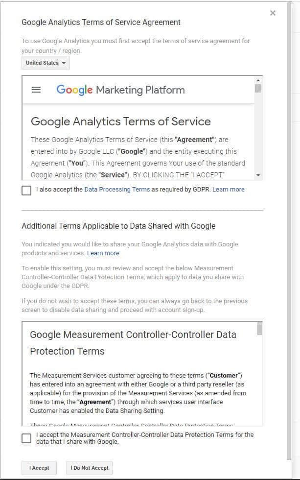 google analytics terms of service